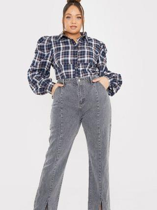 WOMEN In The Style Plus x Olivia Bowen high waisted slit front straight leg jean in gray