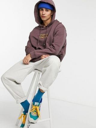 Crooked Tongues hoodie with garden print in brown