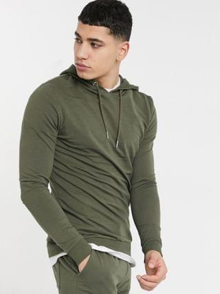 muscle fit tracksuit with super skinny sweatpants in khaki
