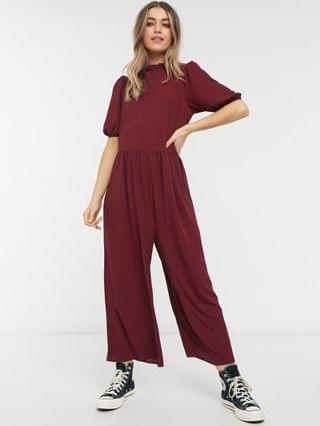 WOMEN frill neck smock jumpsuit in dark red