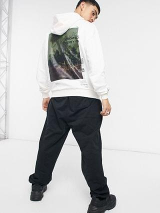 The Couture Club relaxed graphic hoodie with removable branding in off white