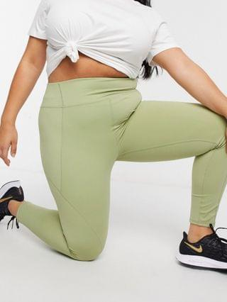 WOMEN In The Style Plus x Courtney Black activewear panelled legging in olive