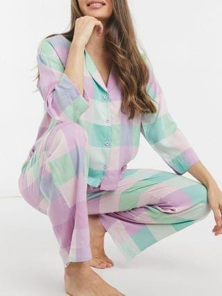 WOMEN modal checked long sleeve shirt and pants pajama set in multi