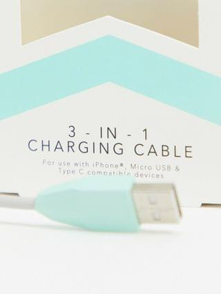 Thumbs Up Exclusive Hopscotch 3-in-1 charging cable in aqua
