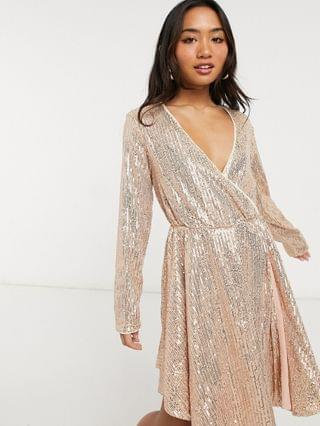 WOMEN Collective the Label Petite sequin wrap mini dress in rose gold ombre sequin