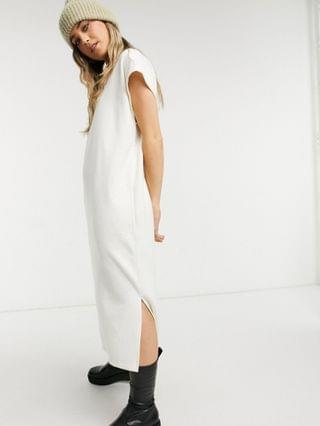 WOMEN super soft midi dress with pocket detail in winter white