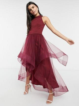 WOMEN Chi Chi London Petite high low organza prom dress in burgundy