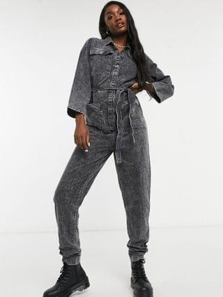 WOMEN Noisy May Tall denim jumpsuit in black acid wash