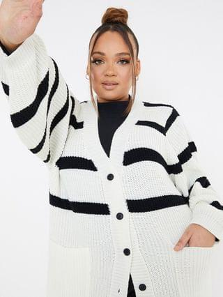 WOMEN In The Style Plus x Lorna Luxe long line cardigan with contrast stripe in white