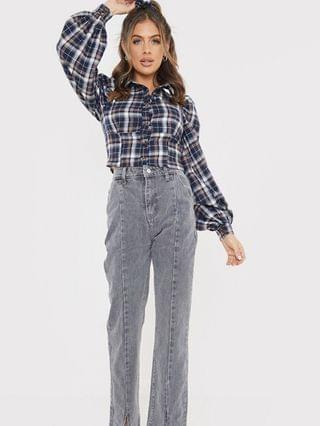 WOMEN In The Style x Olivia Bowen high waisted slit front straight leg jean in gray
