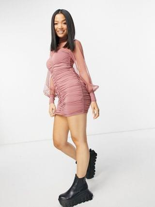 WOMEN Petite high neck textured mesh mini dress with ruched chanelling in chocolate