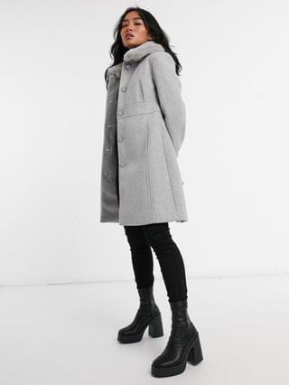 WOMEN Ever New Petite long coat with faux fur collar in gray