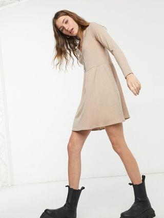 WOMEN New Look cardigan style smock mini dress in camel