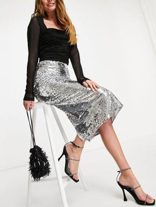 WOMEN Chi Chi London sequin midi skirt with slit in silver