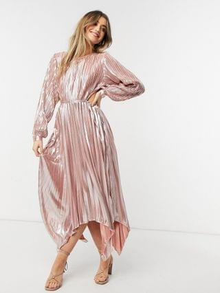 WOMEN Forever Unique pleated metallic dress with cut out detail in rose gold