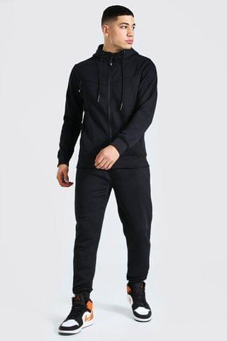 MEN Panelled Zip Through Hooded Tracksuit