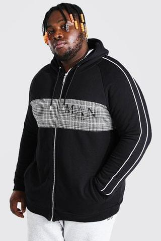 MEN Plus Size MAN Roman Jacquard Panel Zip Hoodie