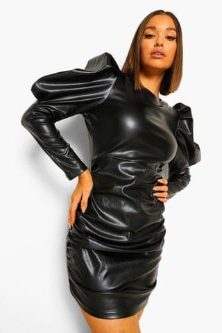WOMEN Leather Look Puff Shoulder Ruched Dress