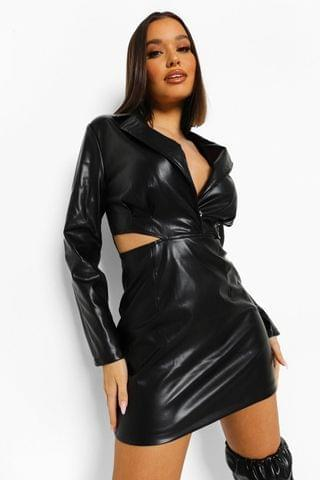 WOMEN Faux Leather Cut Out Waist Mini Dress