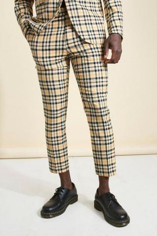 MEN Skinny Neon Check Cropped Suit Trouser