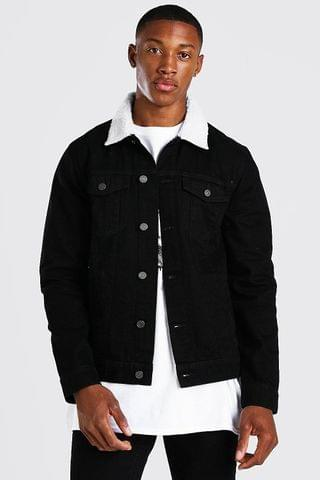 MEN Regular Denim Jacket With White Borg Collar