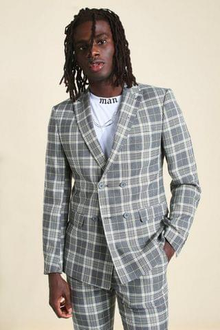 MEN Skinny Check Double Breasted Suit Jacket