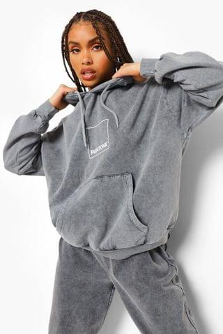 WOMEN Pantone Acid Wash Front And Back Print Hoodie