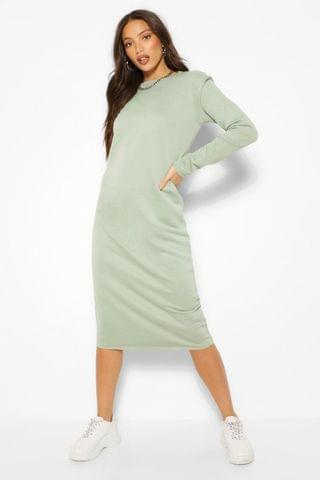 WOMEN Tall Long Sleeve Shoulder Pad Midi Dress