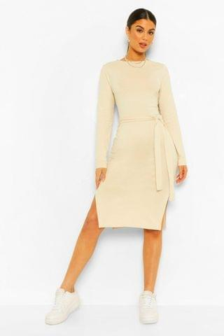 WOMEN Long Sleeve Belted Midi Dress