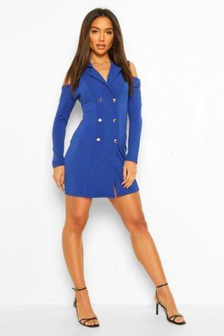 WOMEN Cold Shoulder Double Breasted Blazer Dress