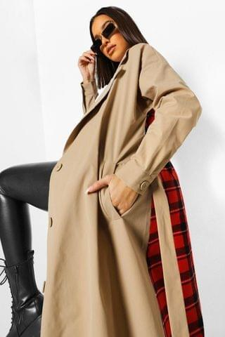 WOMEN Check Back Belted Trench Coat