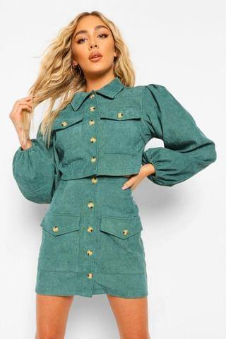 WOMEN Volume Sleeve Cord Crop Jacket And Skirt Co Ord