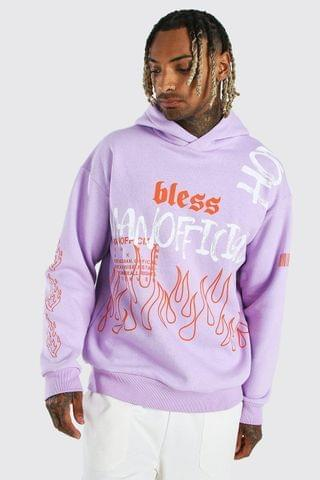 MEN Oversized Official MAN Flame Print Hoodie