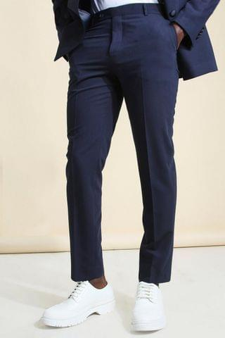 MEN Super Skinny Micro Check Cropped Suit Trouser