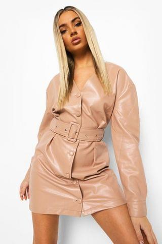 WOMEN Leather Look Belted Pleat Front Shirt Dress