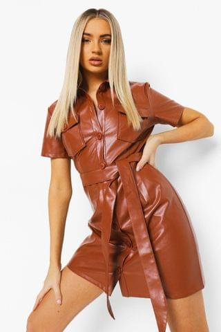 WOMEN Leather Look Belted Utility Shirt Dress