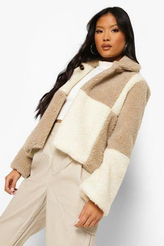 WOMEN Petite Checkerboard Teddy Coat
