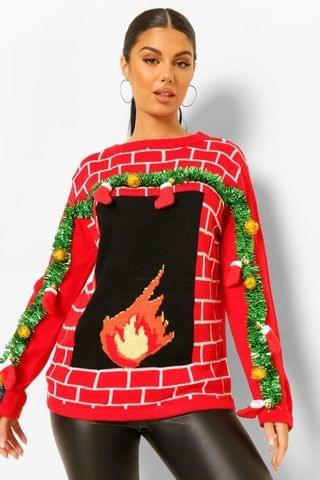 WOMEN 3d Stocking And Tinsel Fireplace Ugly Christmas Jumper