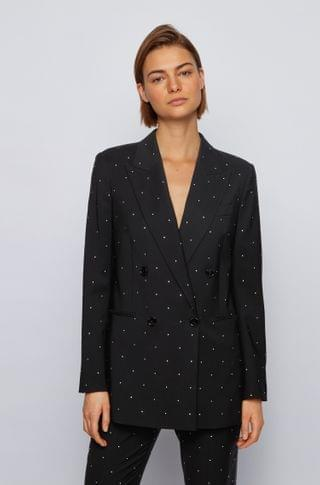 WOMEN Relaxed-fit jacket in virgin wool with Swarovski crystals
