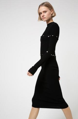 WOMEN Multi-way knitted midi dress with polished stud detailing