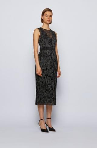 WOMEN Sparkly sleeveless dress with embroidered tulle overlayer