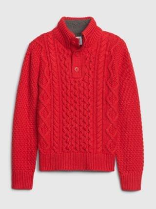 KIDS Cable Knit Mockneck Sweater