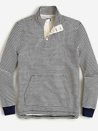 MEN French terry button mockneck pullover sweatshirt in stripe