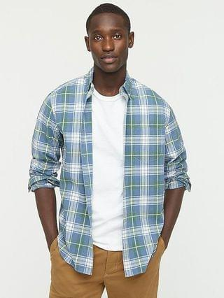 MEN Stretch Secret Wash cotton poplin shirt in plaid