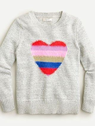 KIDS Girls' rainbow heart crewneck sweater