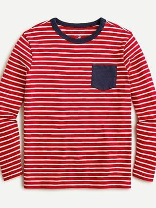 KIDS Kids' long-sleeve pocket T-shirt in red stripe