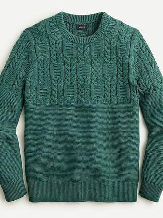 MEN Cotton cable-knit sweater in garter stitch