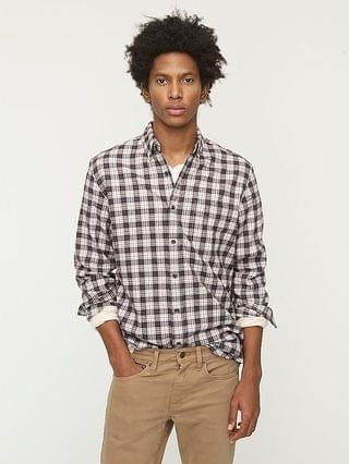 MEN Slim brushed twill shirt in plaid