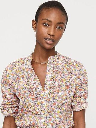 WOMEN Band-collar ruffle-front shirt in Liberty Libby floral