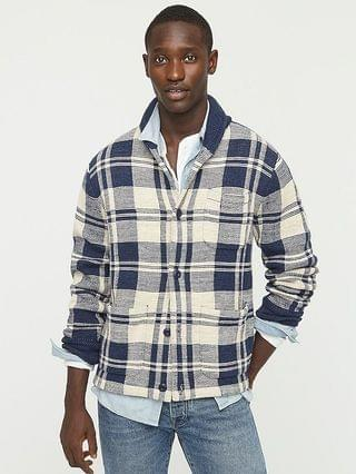 MEN Cotton knit chore jacket in plaid